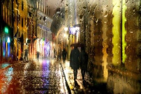 Обои Работа Ночной дождливый Таллин, фотограф Ed Gordeev
