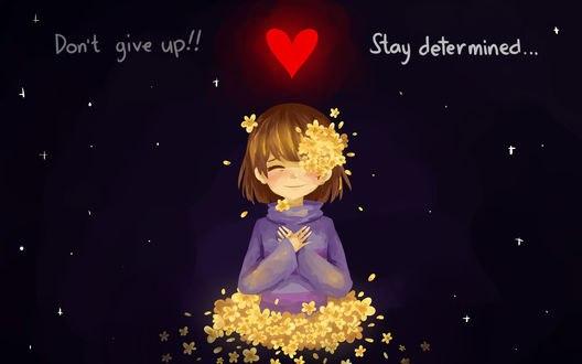 Обои Фриск / Frisk из игры Undertale (Dont give up! Stay determined / Не сдавайся! Сохраняй решимость)