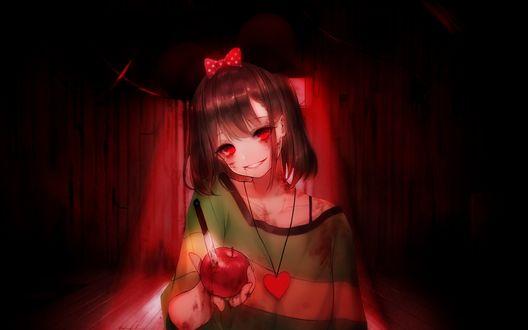Обои Чара / Chara из игры Undertale в стиле аниме, улыбаясь, протягивает проткнутое ножом яблоко в крови