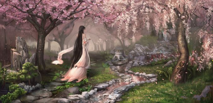 Обои Девушка идет вдоль ручья по саду с цветущей сакурой, art Olga Petuhova