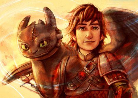 Обои Иккинг рядом со своим драконом Беззубиком, мультфильм How to Train Your Dragon / Как приручить дракона