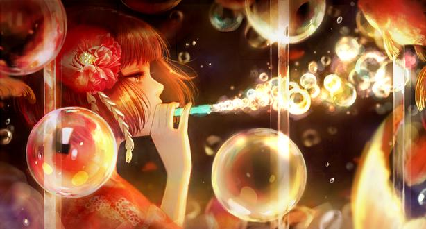 Обои Девушка пускает мыльные пузыри через трубочку, by romiy
