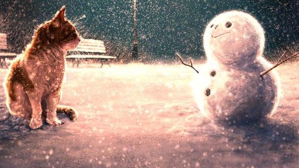 Обои Кошка смотрит на снеговика, by KUN