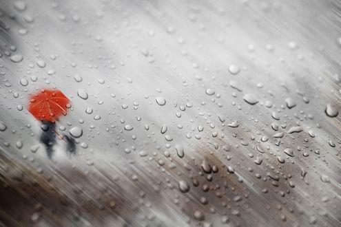 Обои Сквозь капли дождя на стекле видны силуэты женщины и ребенка под зонтом