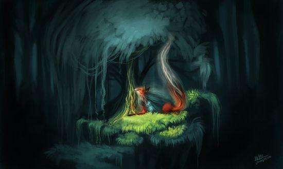 Обои Лиса-лесной дух, лежит под деревом, by TehChan