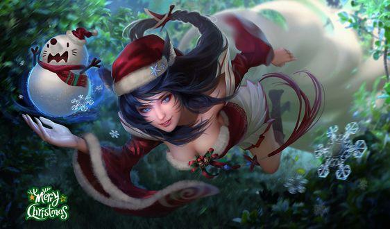 Обои Ари / Ahri со снеговиком в руке, из игры Лига Легенд / League of Legends (Merry Christmas)