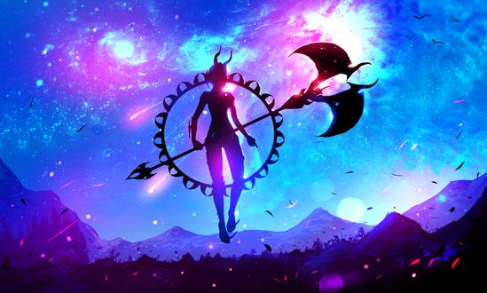 Обои Силуэт девушки-демона с оружием, парящей в невесомости, на фоне фантастического звездного неба, art by ryky
