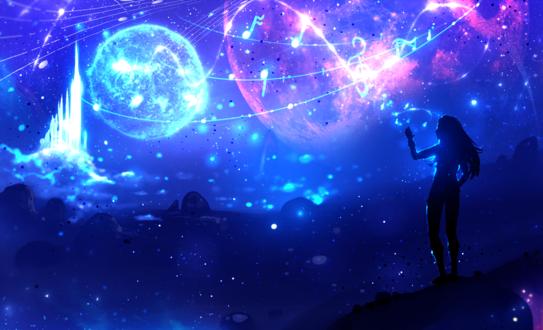 Обои Силуэт девушки, тянущейся рукой к сияющим нотам, парящим в фантастическом ночном небе, art by ryky