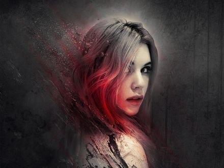 Обои Работа Broken / разбитая - девушка, с красными прядями волос, разлетается по кусочкам, by zacky7avenged