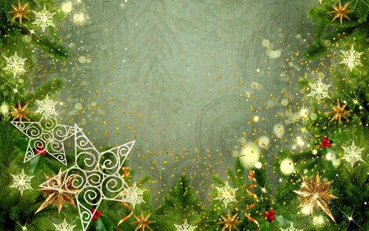 Обои Звездочки, снежинки, новогодние украшения на ветках елки
