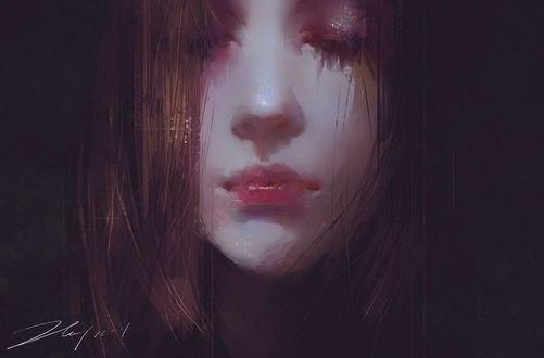 Обои Девушка с закрытыми глазами, by 若是 孤岛