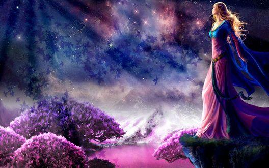 Обои Красивая девушка на фоне сияния звездных метеоритов, фантастическая природа