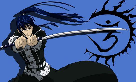 Обои Kanda Yu / Канда Юу с катаной из аниме Ди Грей - Мен / D. Gray-man