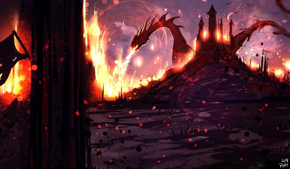 Обои Дракон напал на королевство, by ryky