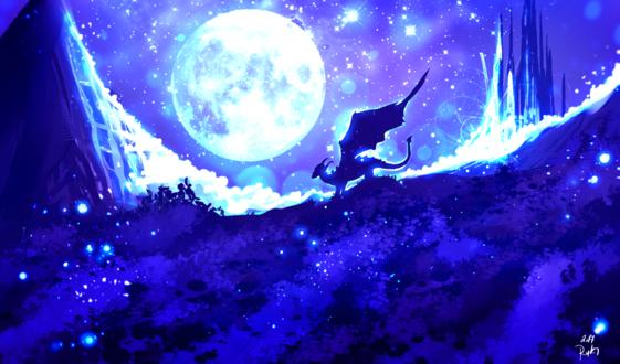 Обои Дракон стоит в траве на фоне ночного неба и полной луны, by ryky