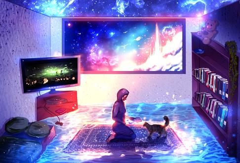 Обои Девушка с кошкой на ковре комнаты, затопленной водой, by ryky