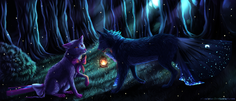 Обои Два волка в сказочном ночном лесу, by eliza1star