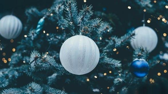 Обои Новогодние шары на елке