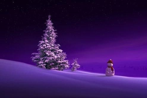 Обои Снеговик стоит недалеко от елки, фотограф nikos Bantouvakis