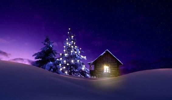 Обои Деревянный домик у светящейся елки, фотограф nikos Bantouvakis