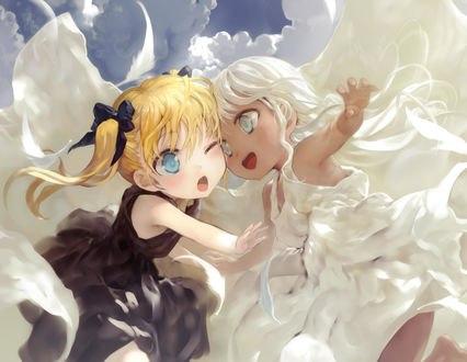 Обои Девочки-ангел и демон в небе, by bob