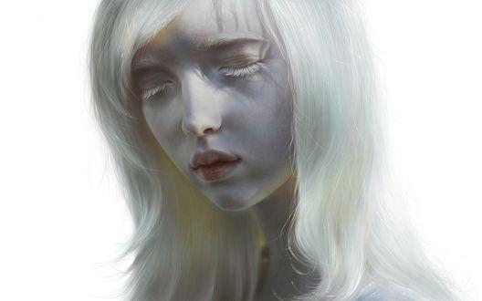 Обои Девушка - альбинос с закрытыми глазами на белом фоне