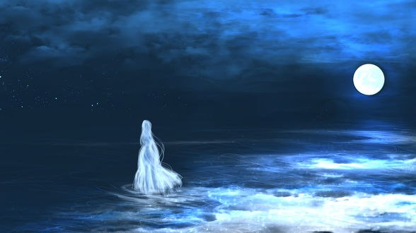 Обои Призрак девушки гуляет по воде на фоне ночного неба и полной луны, by saya