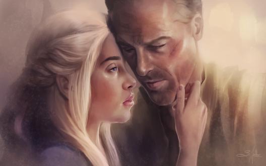 Обои Персонаж Daenerys Targaryen / Дейенериc и Daario Naharis / Даарио Нахарис, работа Прощание, by Sandramalie