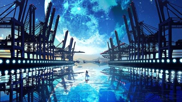 Обои Девушка стоит на воде под облачным небом в окружении железных конструкций
