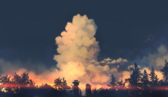Обои Персонажи из Тохо / Touhou: Renko Usami / Усами Ренко и Maribel Hearn / Марибель Хирн стоят на фоне огромного облака, by wjstpwls4