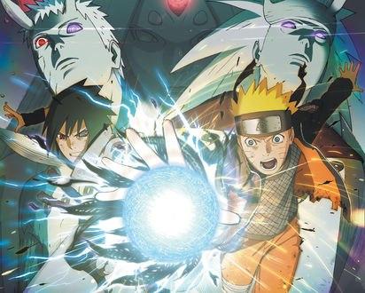 Обои Uchiha Sasuke / Учиха Саске и Naruto атакуют из аниме Наруто / Naruto