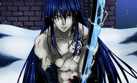 Обои Раненный Kanda Yu / Канда Юу с катаной из аниме Ди Грей - Мен / D. Gray-man