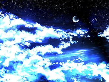 Обои Полумесяц в ночном небе среди облаков, by saya
