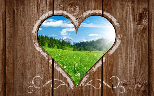 Обои Отверстие в виде сердечка, сквозь которое виден летний пейзаж