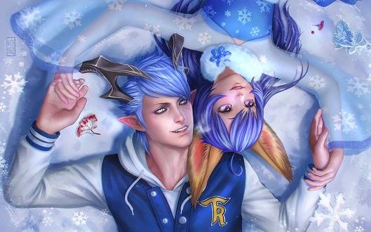 Обои Девушка и парень персонажи из онлайн игры TERA / Тэра лежат на снегу, by Zetsuai89