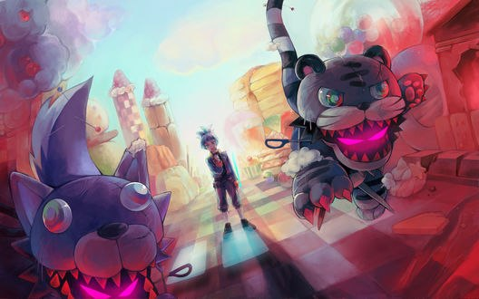 Обои Shiunin Sora / Сора Шиунин, перед которым бегут Frightfur Tiger / Тигр и Frightfur Wolf / Волк, из аниме Yu-Gi-Oh! ARC-V / Югио, art by Pixiv Id 265320