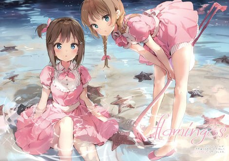Обои Две девушки в розовых платьях в воде, одна из них держит игрушечного розового фламинго, by Anmi