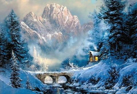 Обои Зимний горный пейзаж в легкой дымке