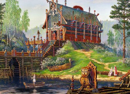 Обои Славянский храм стоит на возвышении, внизу река, ладьи, мост, на фоне русской природы, Картина-Храм Свентовита, художник Всеволод Иванов
