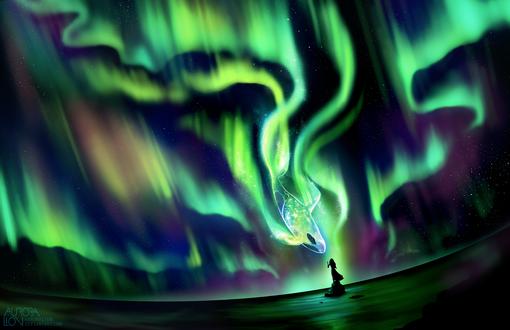 Обои Девушка стоит на камне в море и смотрит в небо на кита в северном сиянии, by AuroraLion