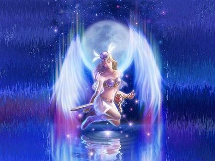 Обои Девушка-ангел с крыльями за спиной держит меч в руках, под ней вода, переходящая в звездное ночное небо