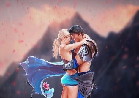 Обои Парень обнимает девушку, они стоят на фоне гор, by eZeeD