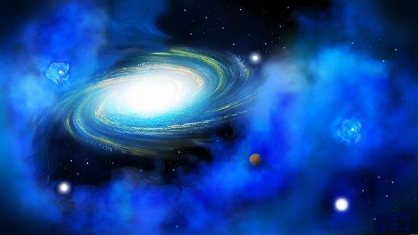Обои Планеты в галактической туманности космоса