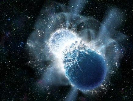 Обои Столкновение двух нейтронных звезд в космическом пространстве