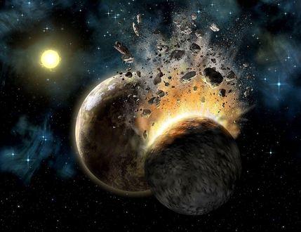 Обои Столкновение двух звезд с мертвым ядром в космосе