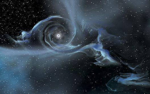 Обои Галактическая туманность в космосе, черная дыра