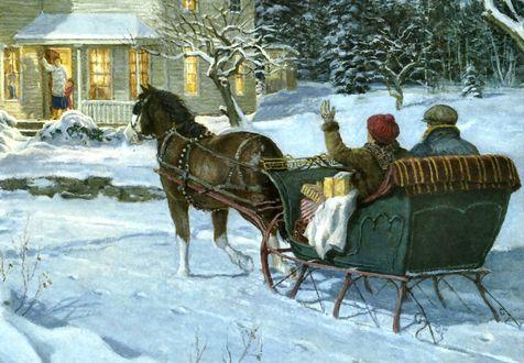 Обои Женщина и мужчина едут с подарками в санях, запряженных лошадью, из дома, светящегося огнями из окон, вышли женщина и ребенок в ожидании родных