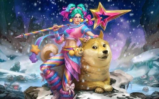 Обои Девушка с бирюзовыми волосами стоит рядом с собакой, cold Skadi, by Scebiqu