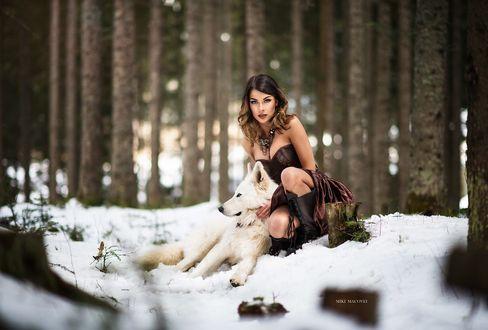 Обои Девушка с собакой сидят на снегу, фотограф Miki Macovei