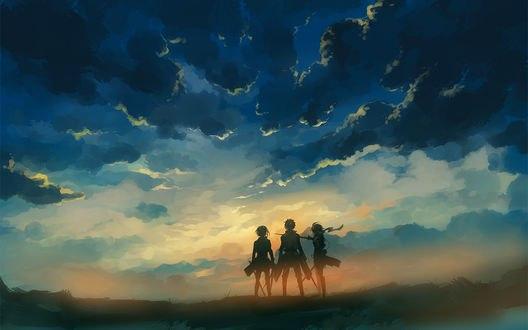 Обои Armin Arlert / Армин Арлерт, Eren Yeager / Эрен Егер и Mikasa Ackerman / Микаса Акерман в лучах рассвета из аниме Shingeki no Kyojin / Вторжение гигантов